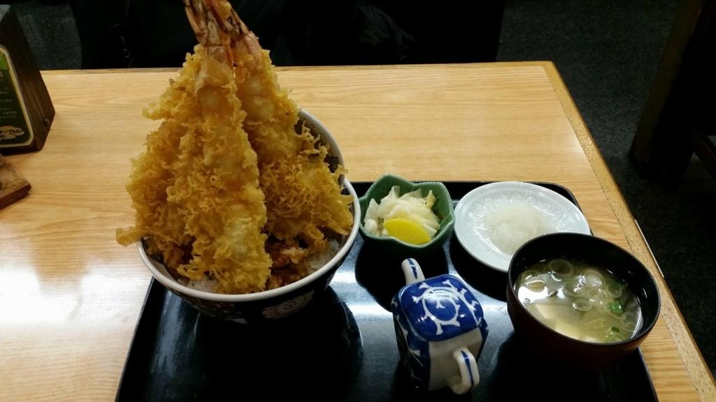 スカイツリー近く(浅草)『そば処元祖かみむら』の元祖タワー丼のセット写真