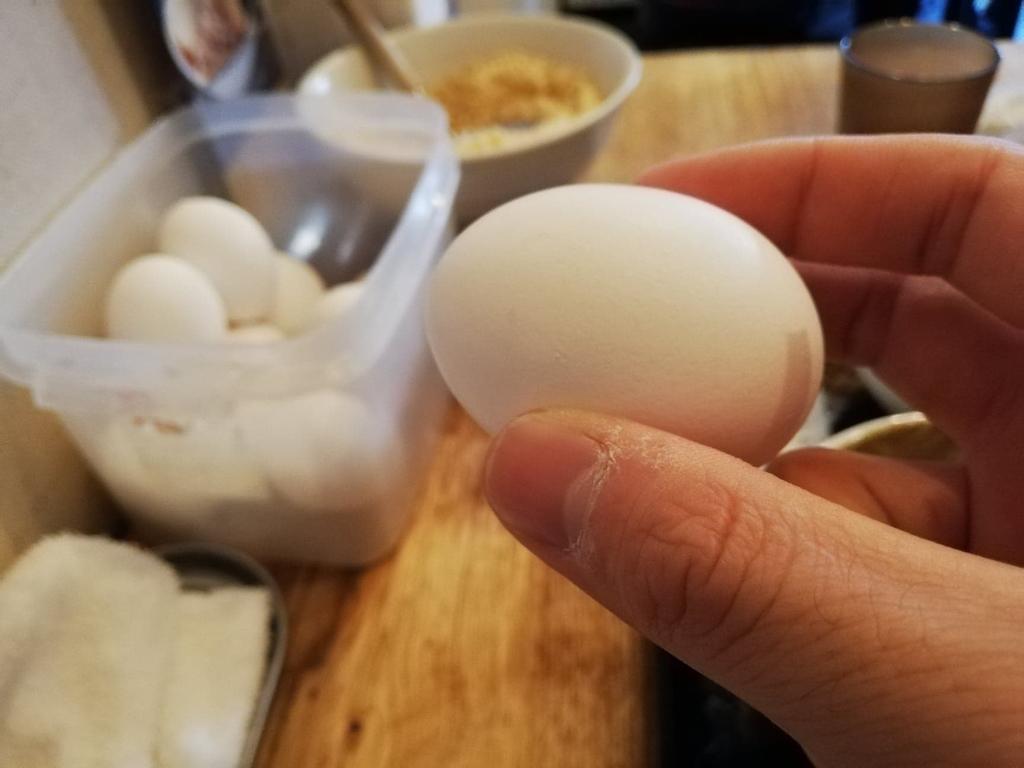 手で持ち上げた生卵