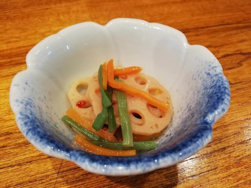 長崎『吉宗本店』の吉宗定食の、蓮根の和え物の写真