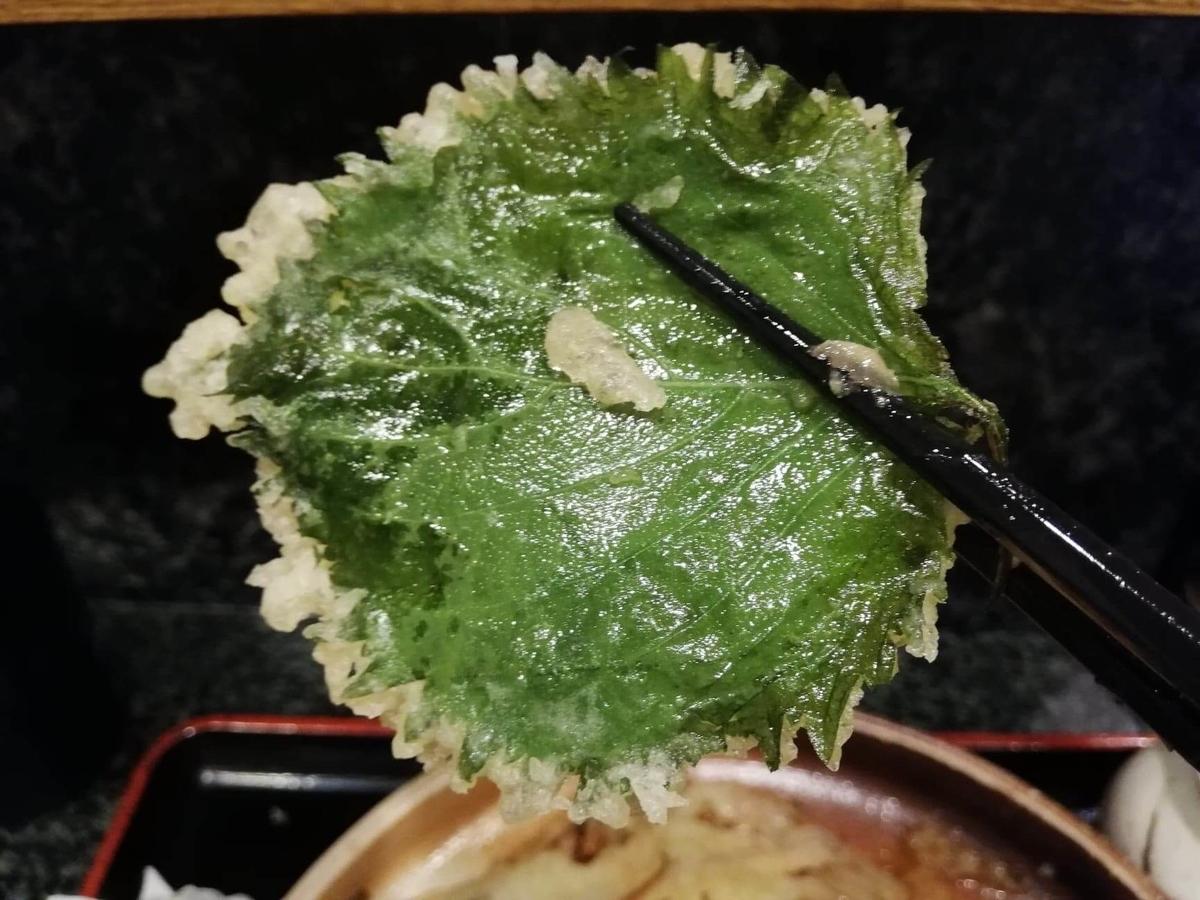 高田馬場『大地のうどん』のごぼうおろしぶっかけに乗っている大葉天ぷらの写真