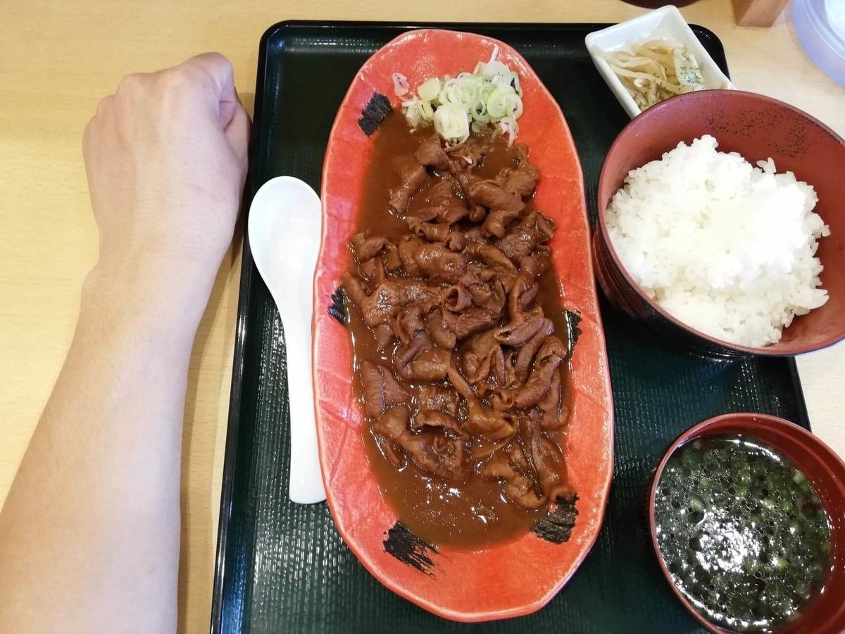 久米川『東京餃子食堂』の信州味噌モツ煮定食と腕のサイズ比較写真
