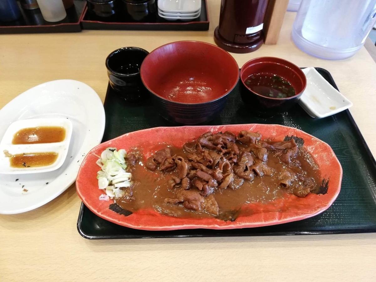 久米川『東京餃子食堂』の、残りの信州味噌モツ煮定食の写真