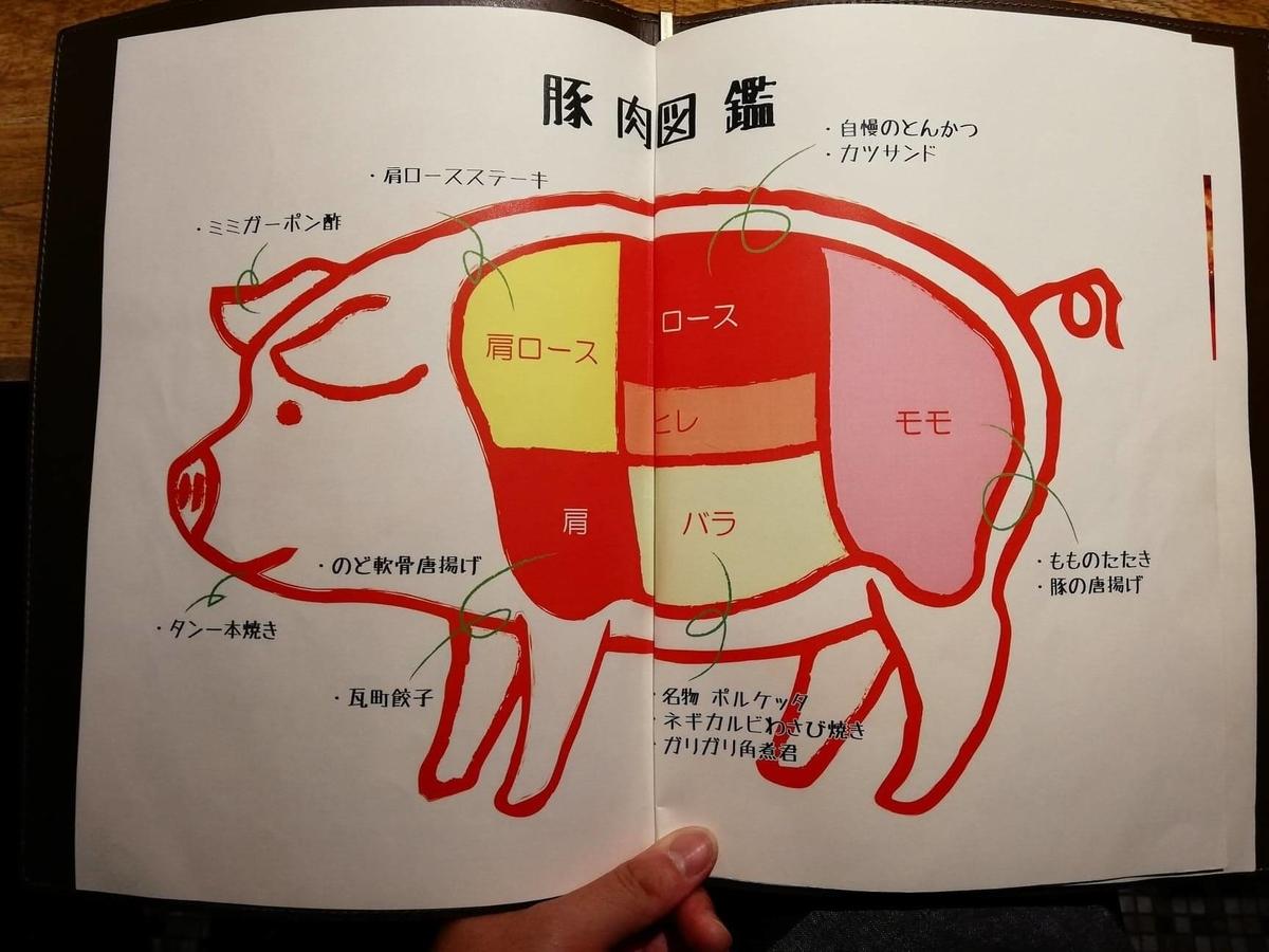 香川県高松市『瀬戸内豚料理紅い豚』の、豚の部位解説写真