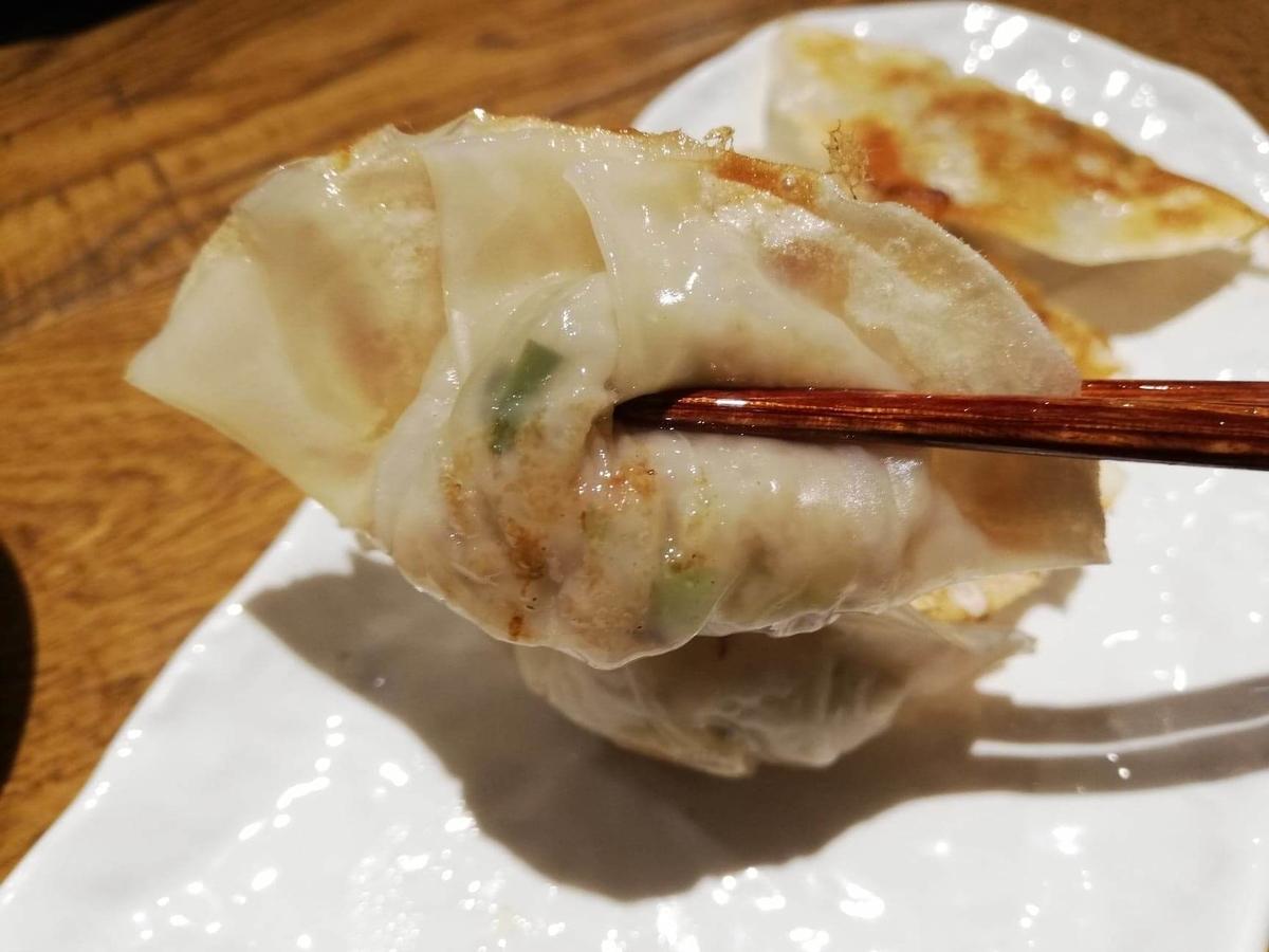 香川県高松市『瀬戸内豚料理紅い豚』の瓦町餃子を箸で掴んでいる写真