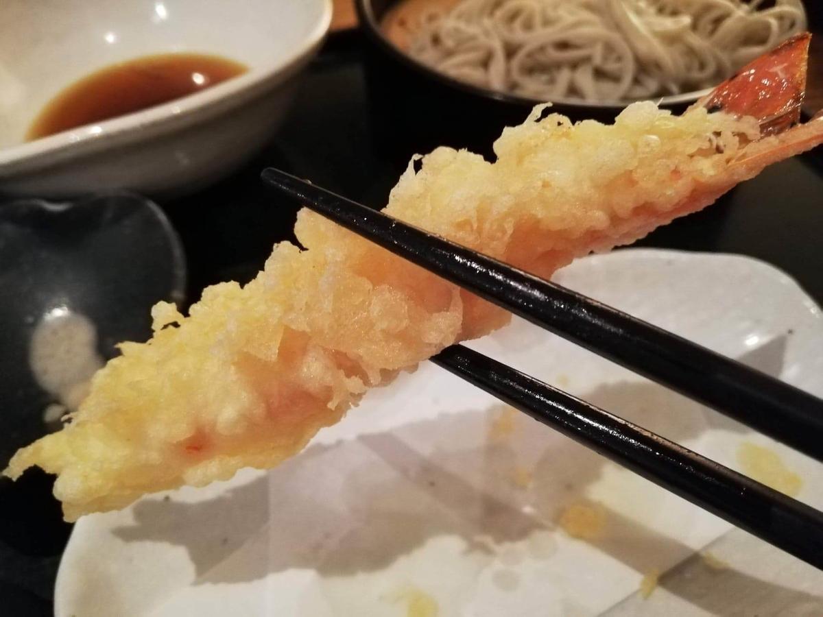 浦和『分上野藪(わけうえのやぶ)かねこ』のエビの天ぷらの写真