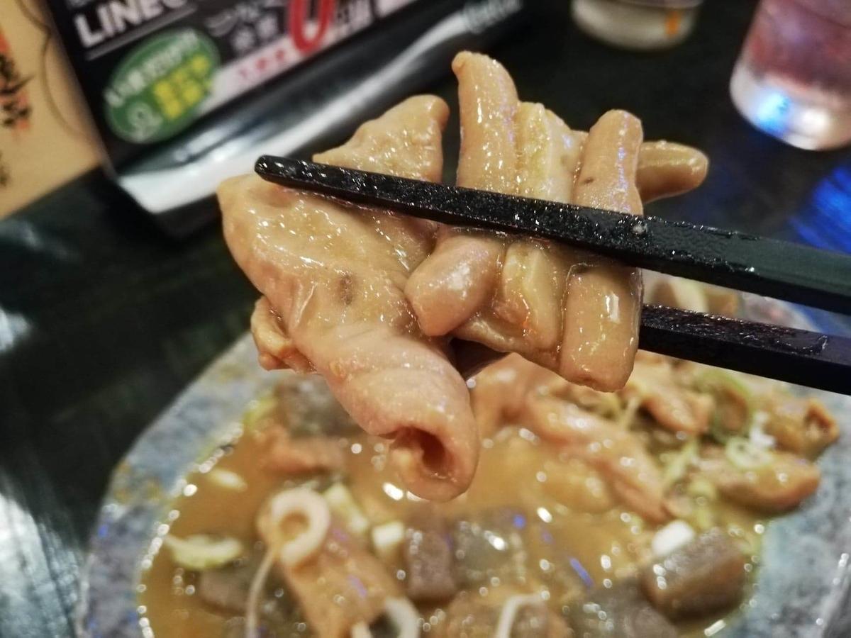 長野県松本市『松本つなぐ横丁』内の『やきとり番長』のモツ煮を箸で掴んでいる写真