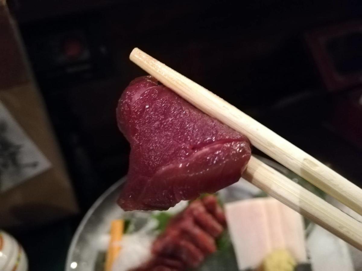 長野県松本市さくら料亭(馬肉料理)『新三よし』の、さくら刺し三種盛Mの赤身の写真