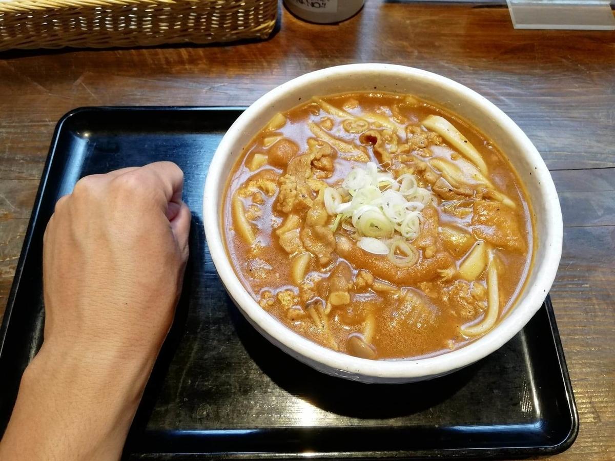 池袋『カレーうどん ひかり TOKYO』のひかりカレーうどんと拳のサイズ比較写真①