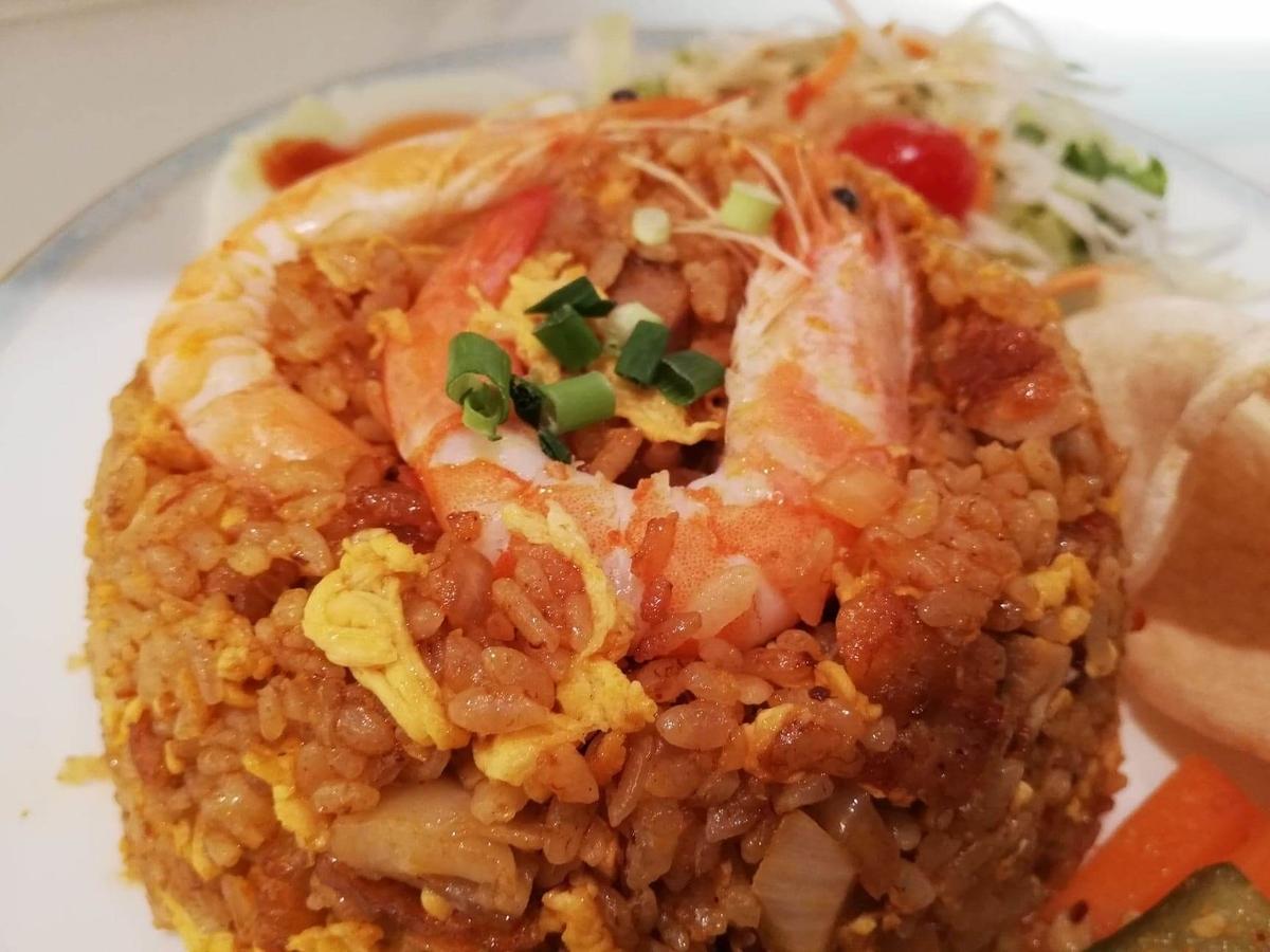 盛りもり祭2019『シンガポール海南鶏飯』のナシゴレンプレート(マレー風炒飯)のアップ写真