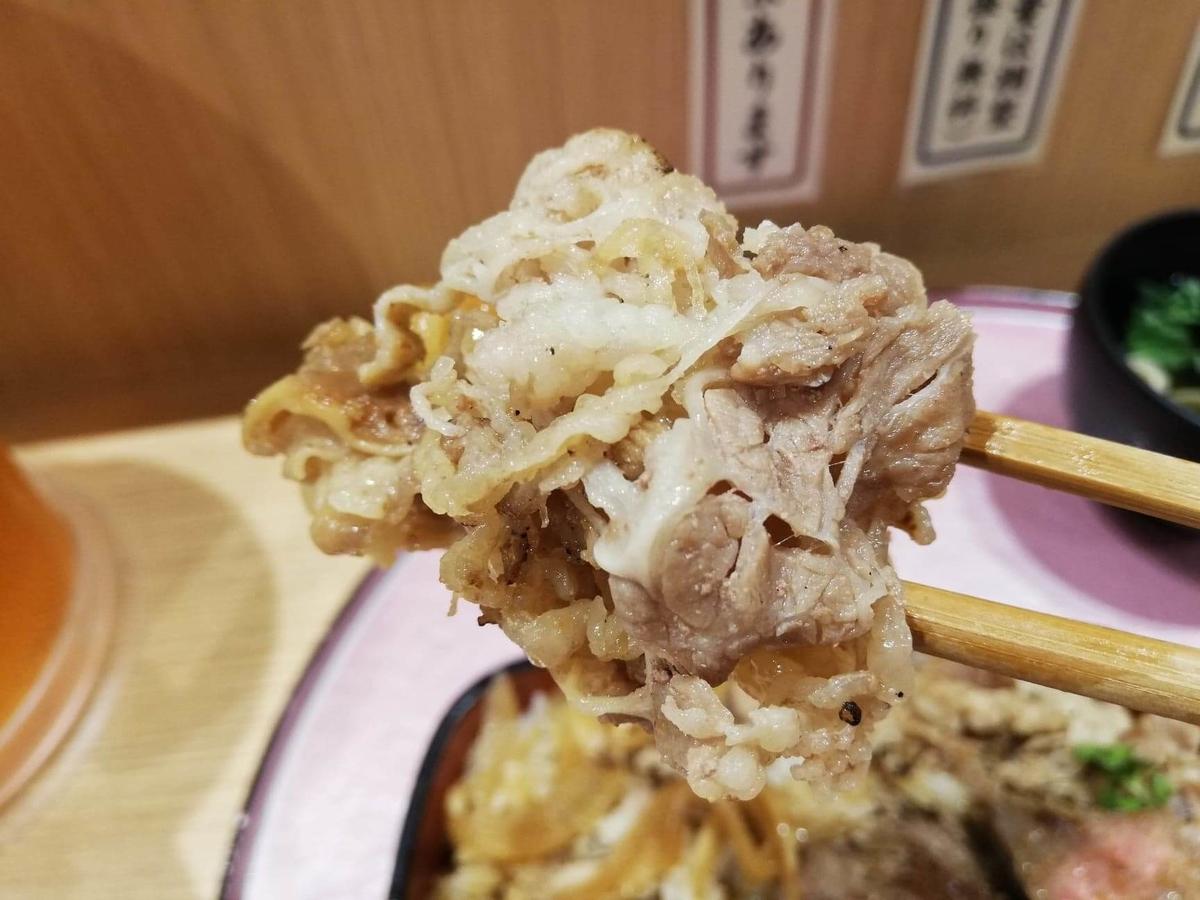 大阪『ビフテキ重・肉飯 ロマン亭』の肉飯を箸で掴んでいる写真