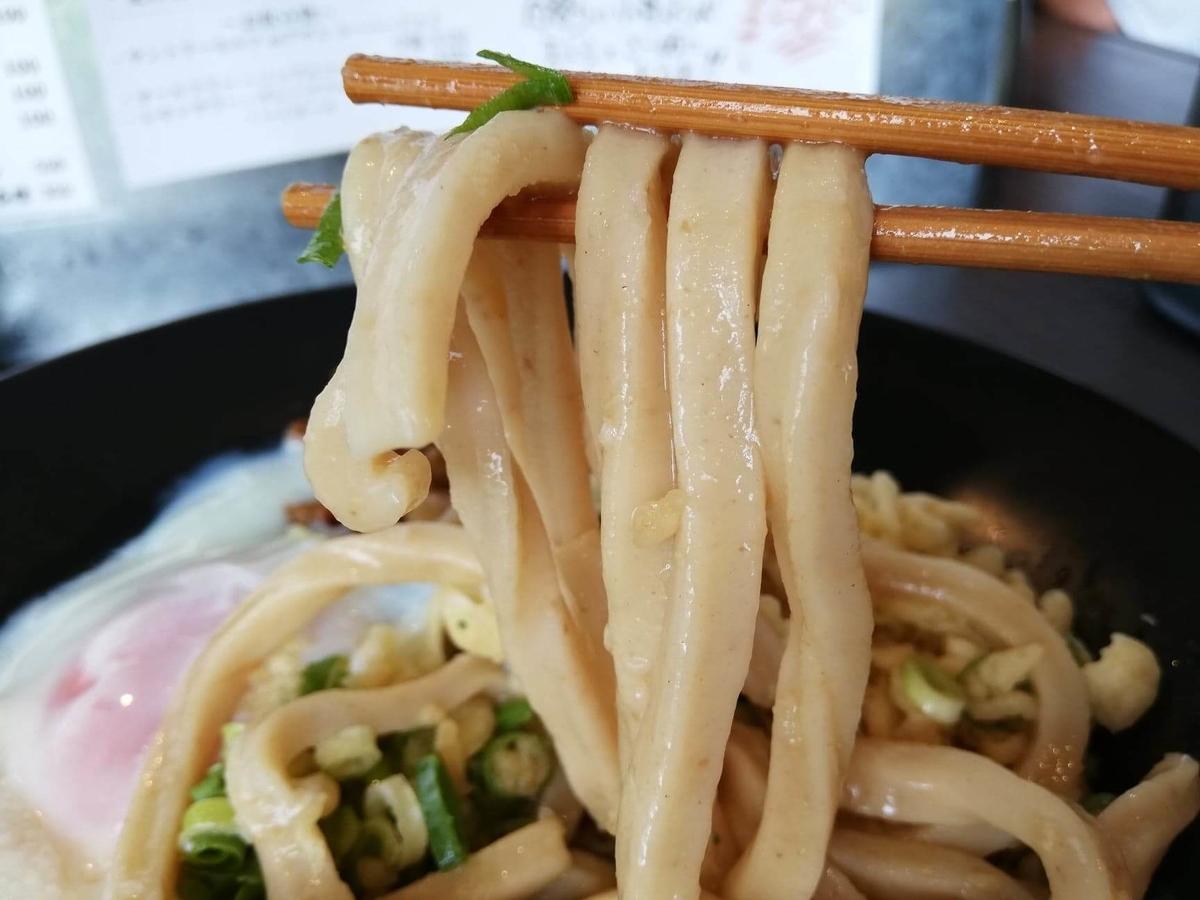 武蔵浦和(北戸田)『武蔵野うどん澤村』の牛とろぶっかけの麺のアップ写真