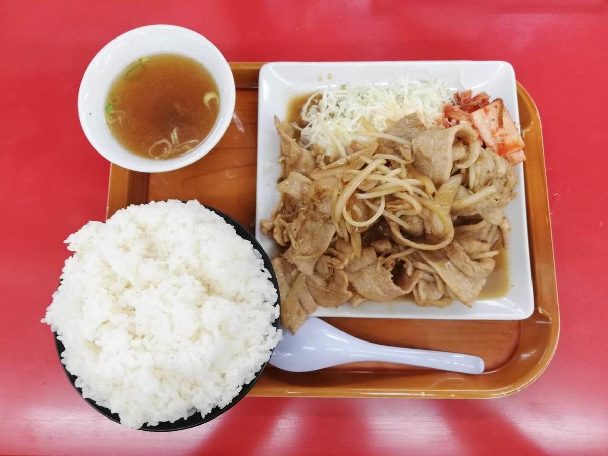 新座『くるまやラーメン』の焼肉定食の写真