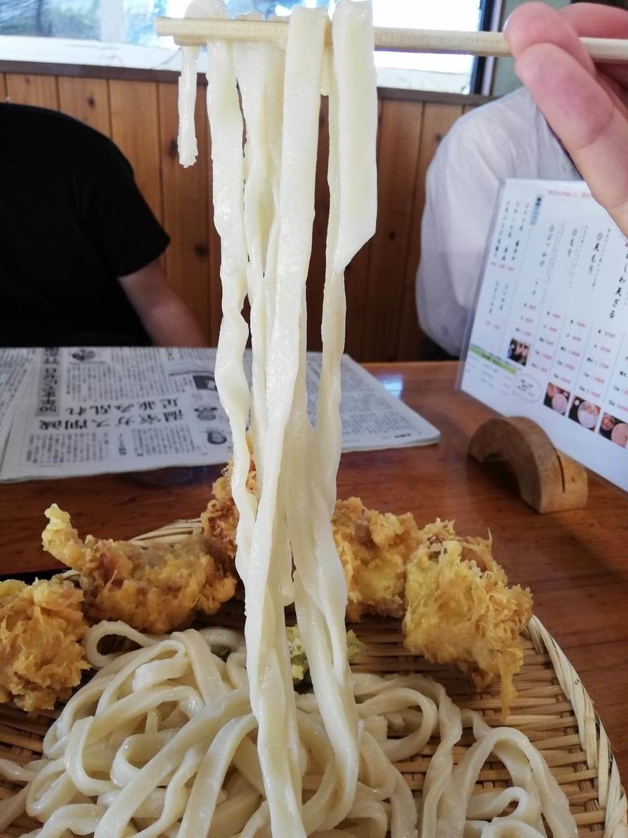 鶴ヶ島(川越)『田舎打ち麺蔵』の、かしわ天ざるの麺のアップ写真