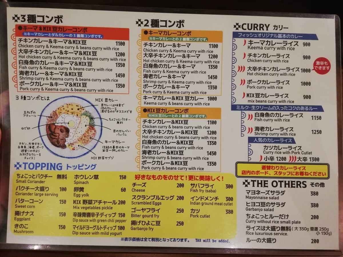 西武新宿『フィッシュ(FISH)』のメニュー表写真①