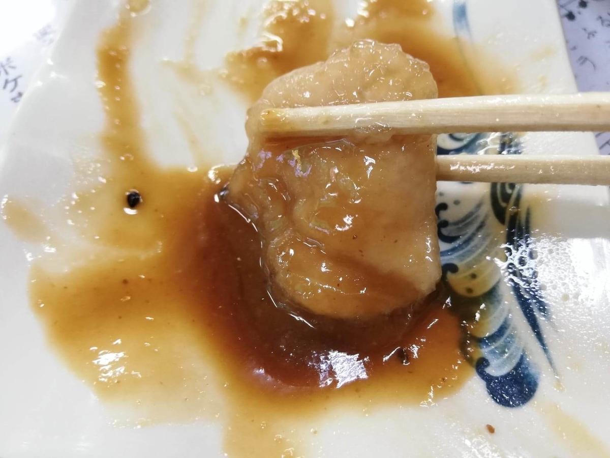石川県金沢市兼六園近く『城山亭』の、鶏肉のアップ写真