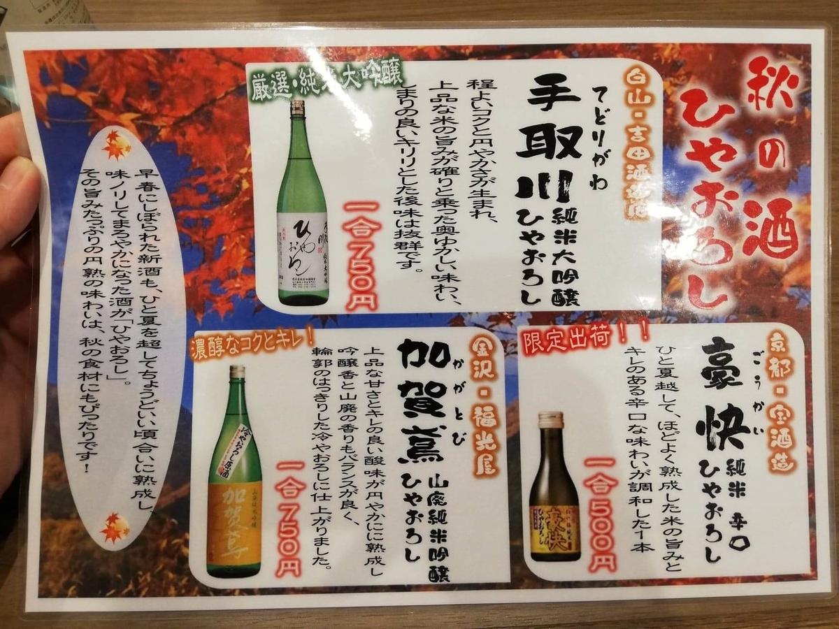 金沢市中央卸売市場『魚がし食堂』のメニュー表写真③