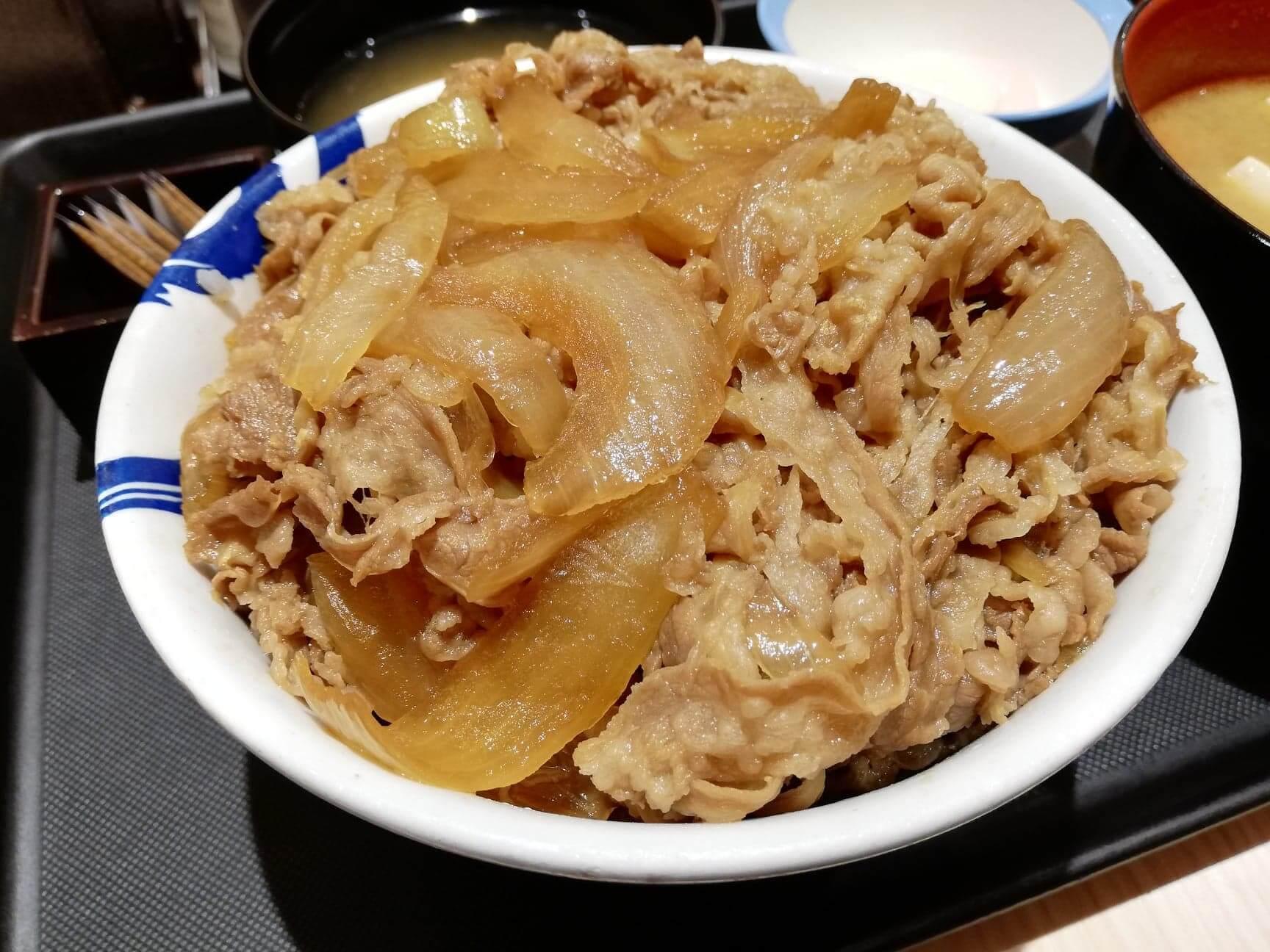 松屋の牛丼のアップ画像