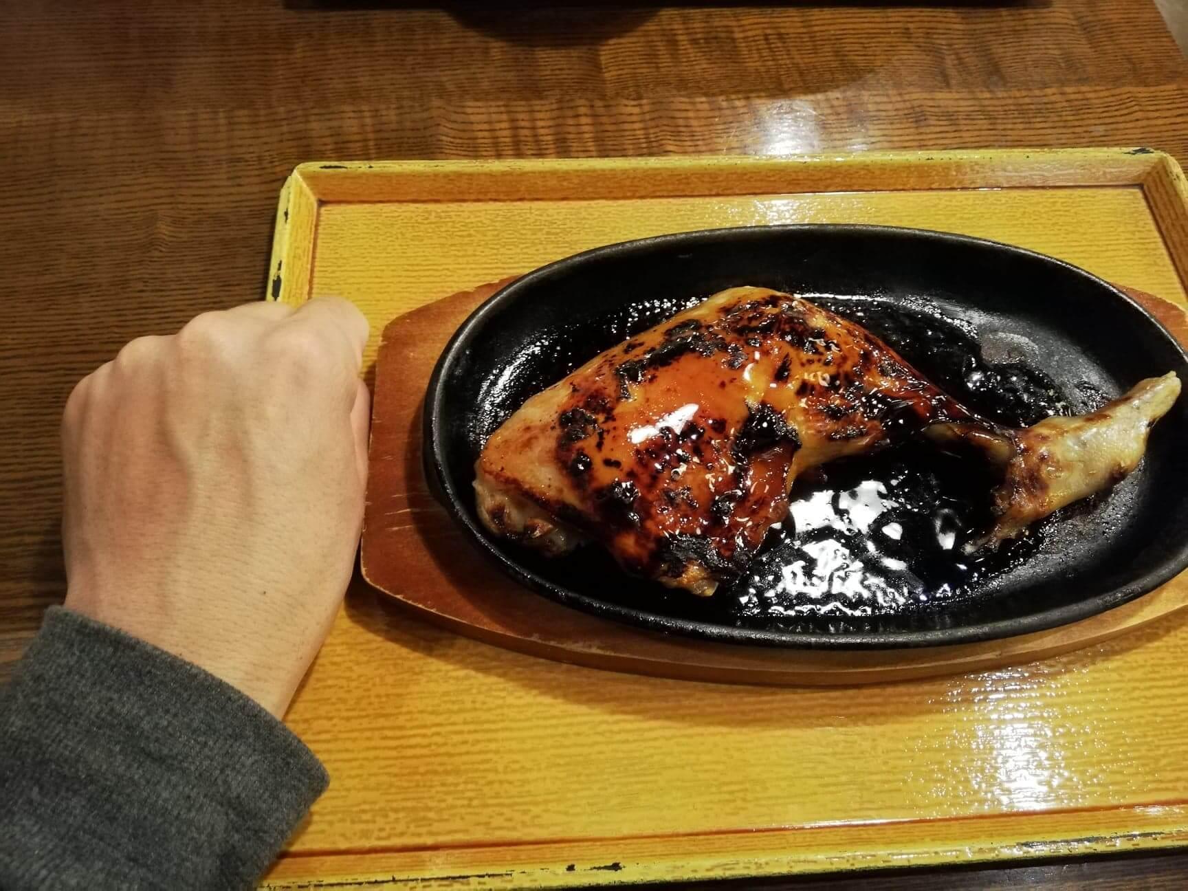 広島県の前空駅『田舎茶屋わたや大野店』の山賊焼きと拳のサイズ比較写真