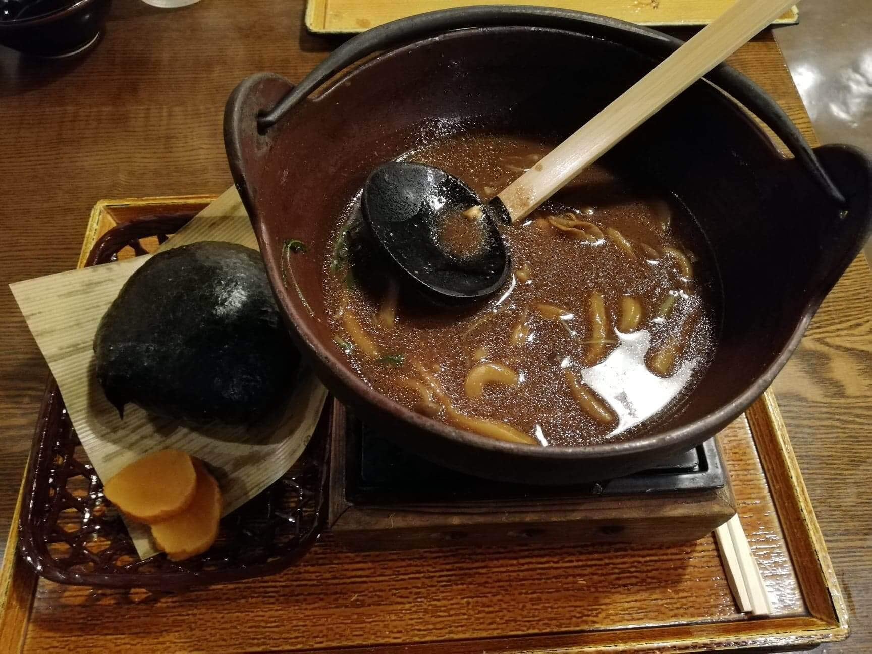 広島県の前空駅『田舎茶屋わたや大野店』の残りのスープの写真