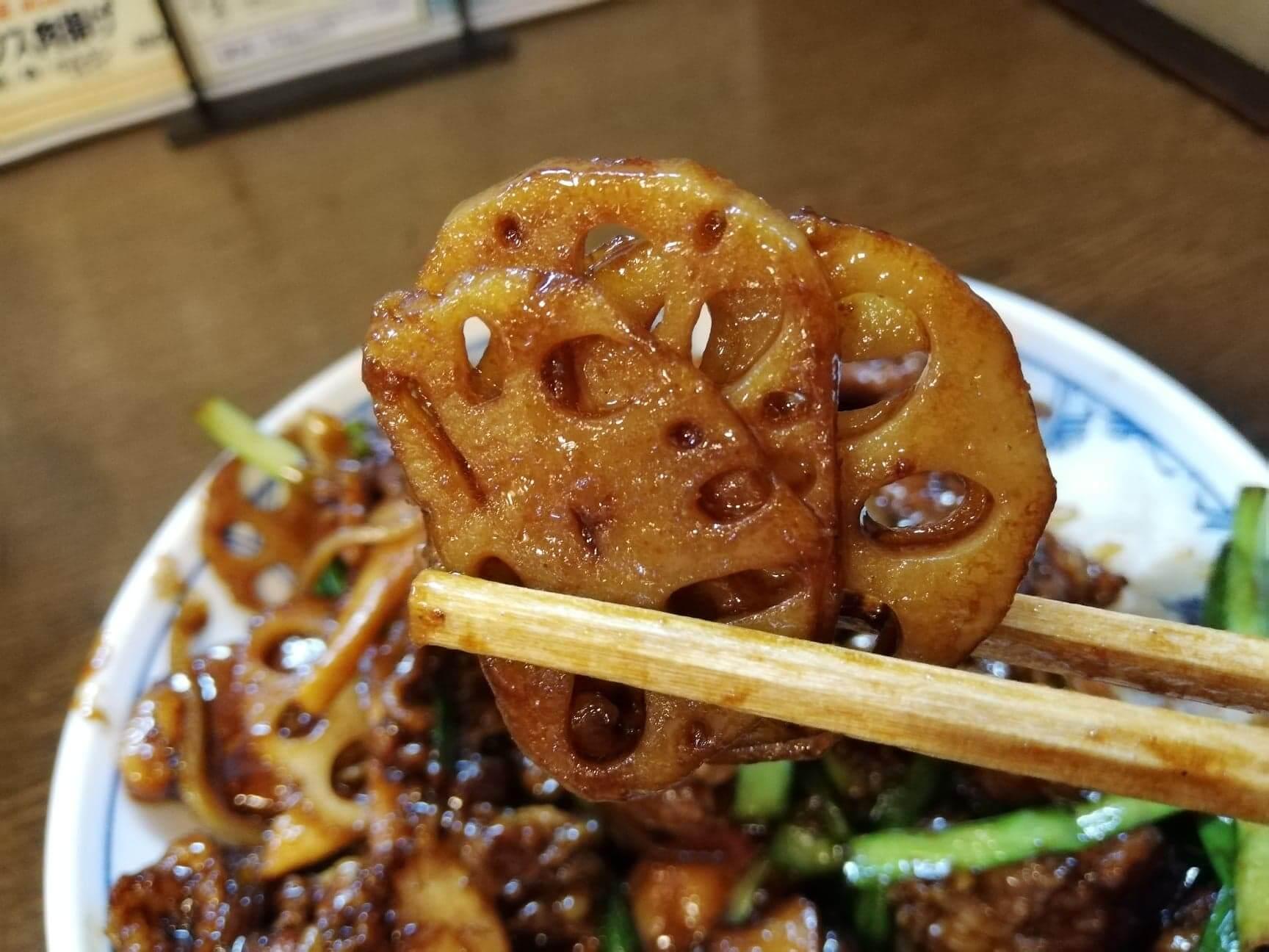 新座『三珍富士力食堂』のレンコンの写真