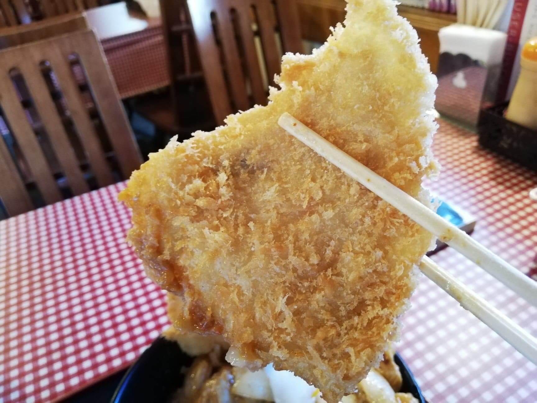 江古田『キッチン男の晩ごはん女の昼ごはん』のスタミナ野郎丼(極み)のカツを箸で持ち上げた写真