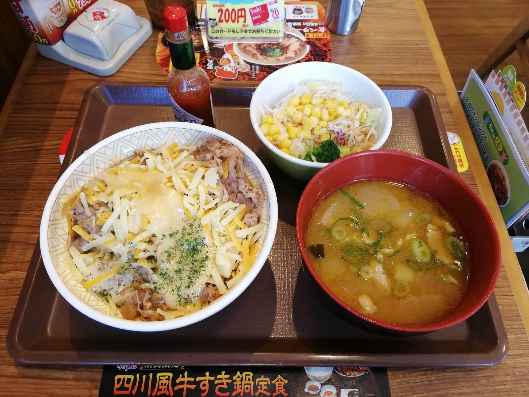 すき家の『とろーり3種のチーズ牛丼カレーとん汁サラダセット』の写真