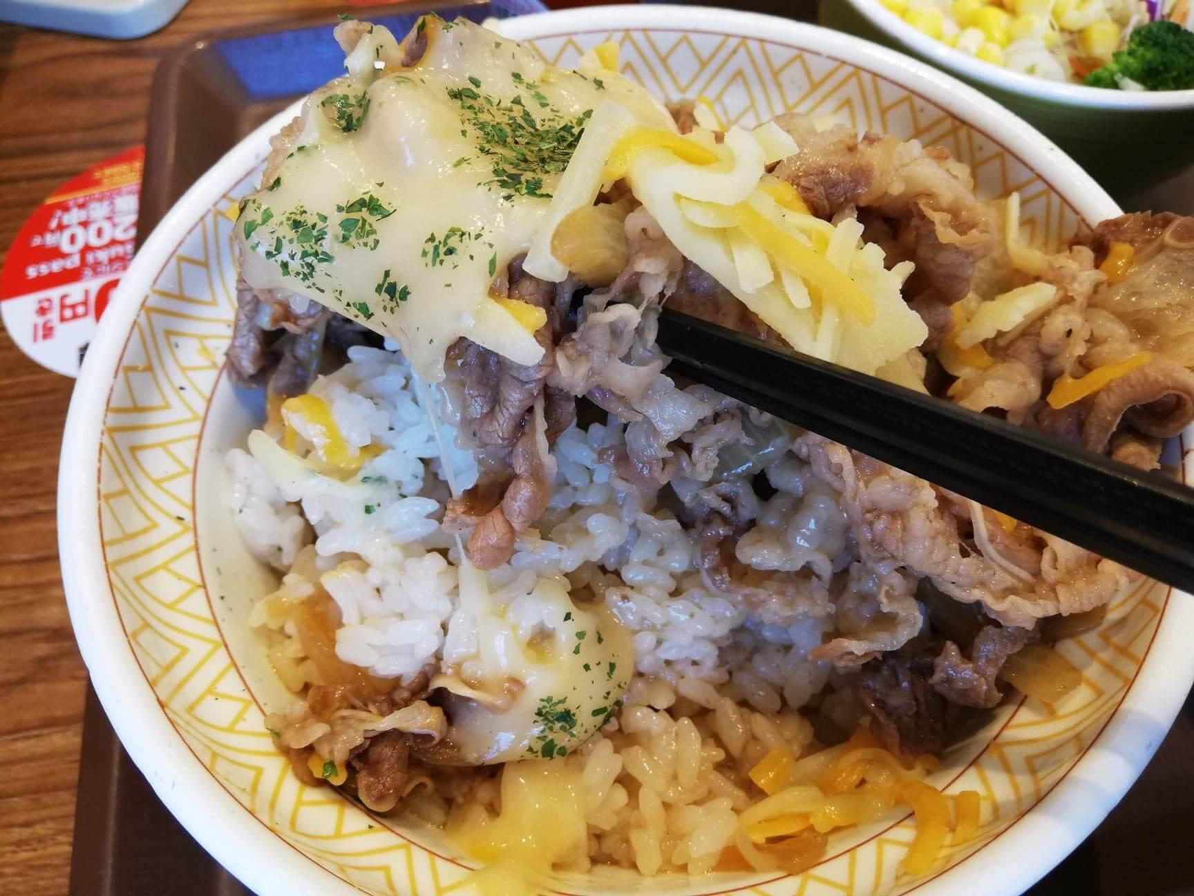 すき家の『とろーり3種のチーズ牛丼』の写真