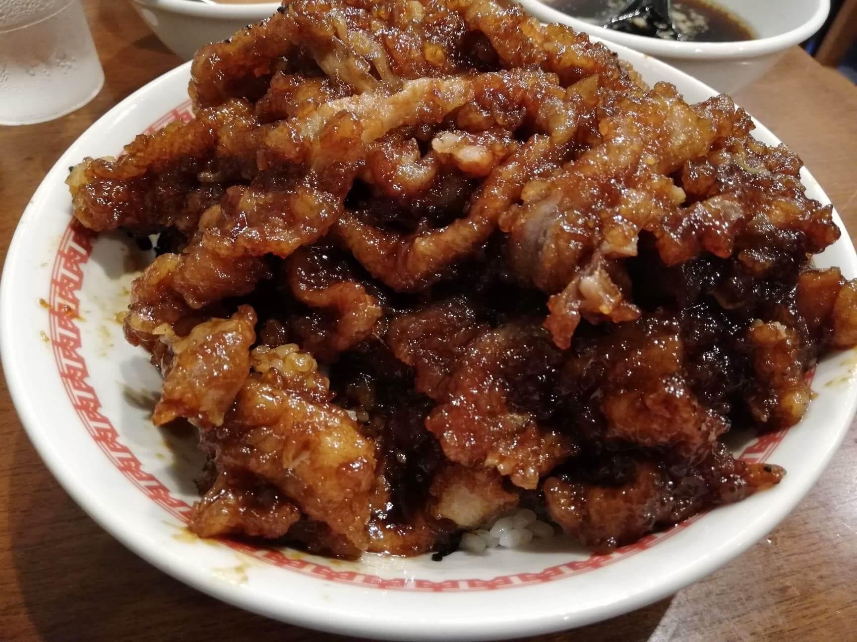 高田馬場『肉汁麺ススム』の肉汁丼のアップ写真