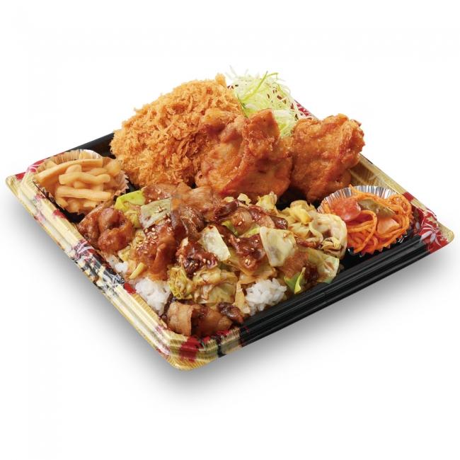 かつや『全力飯弁当』の一つ、回鍋肉丼から揚げチキンカツ弁当の写真