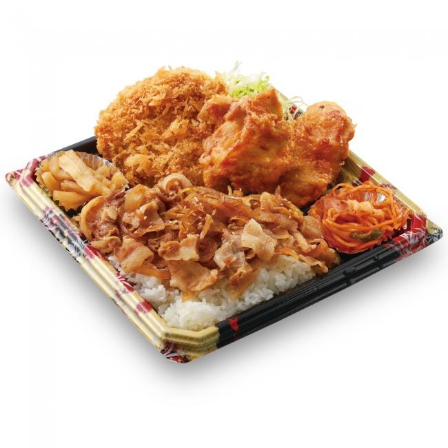 かつや『全力飯弁当』の一つ、生姜焼丼から揚げチキンカツ弁当の写真