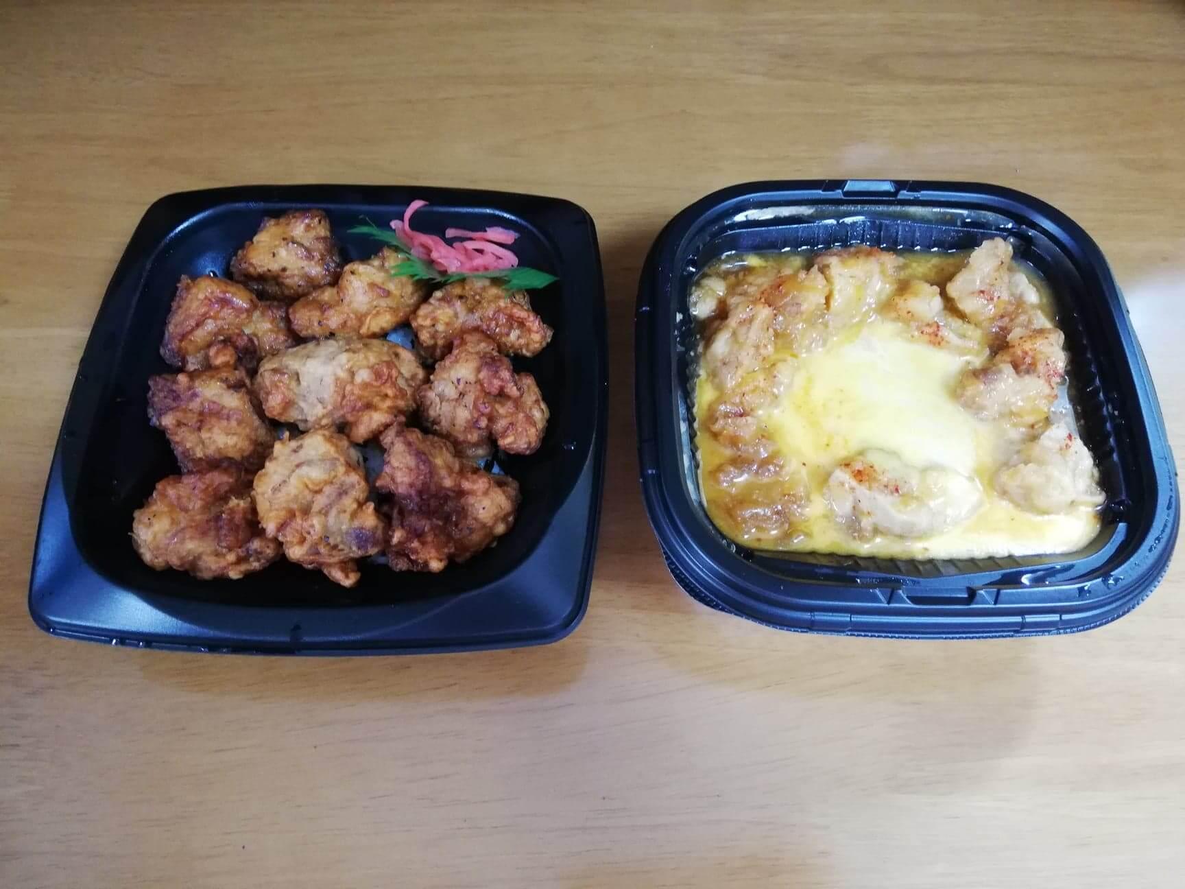 ファミマの『とろーりチーズの唐揚丼』と『唐揚10個ドーン!』の写真