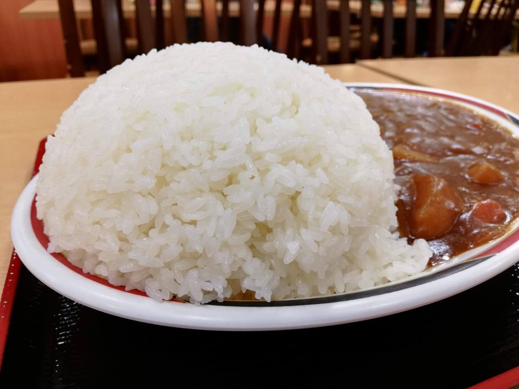 宮城県仙台市『大衆食堂半田屋東口BiVi店』の1キロカレーのライスのアップ写真